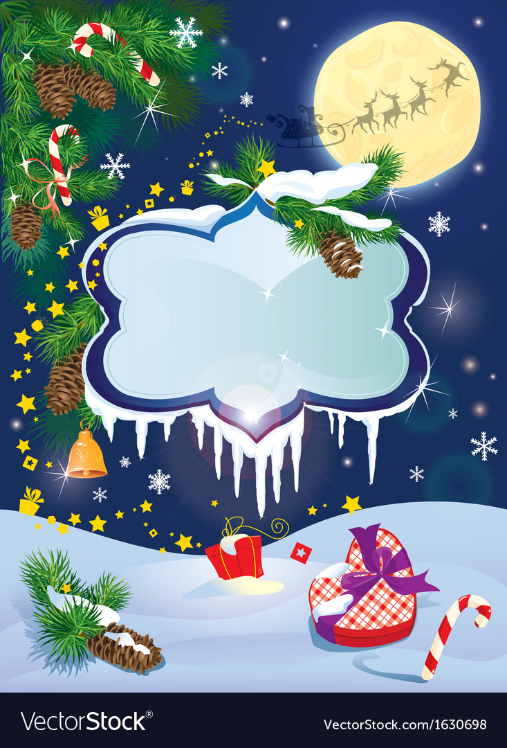 Christmas and new year card with flying rein deers vector | Price: 3 Credit (USD $3)