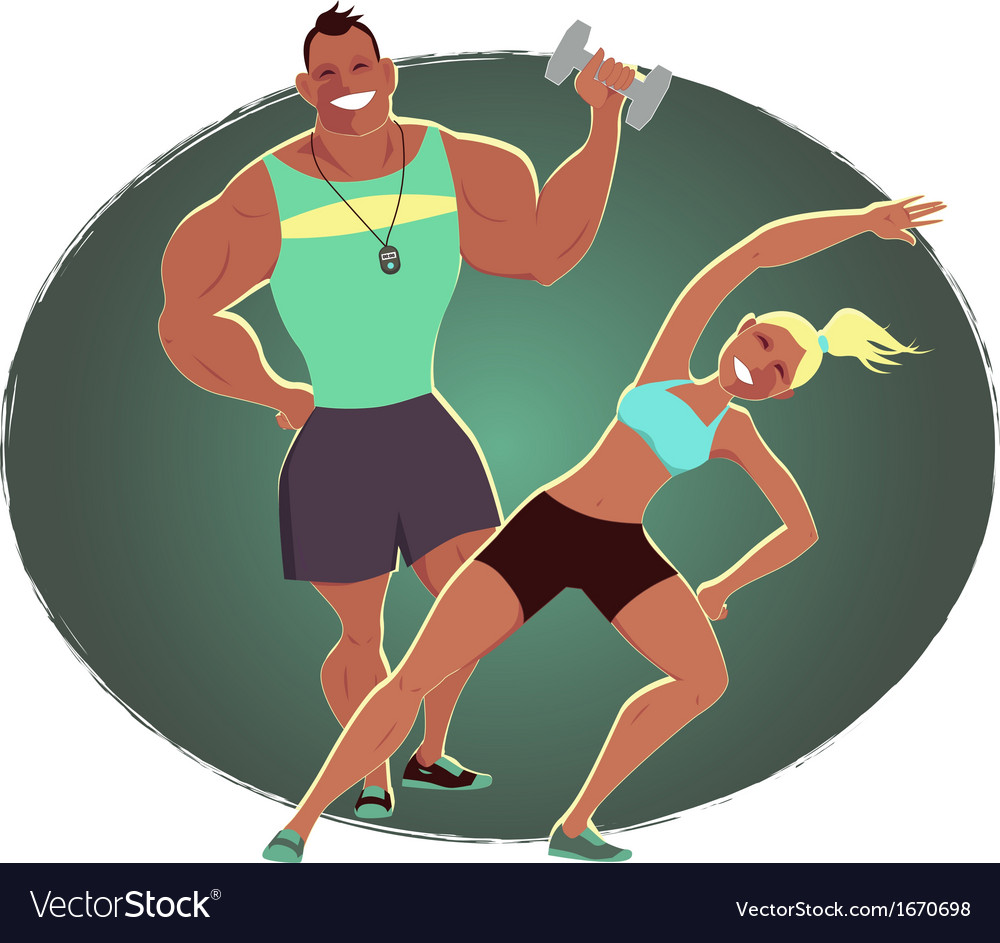 Fitness instructor and personal trainer vector | Price: 1 Credit (USD $1)