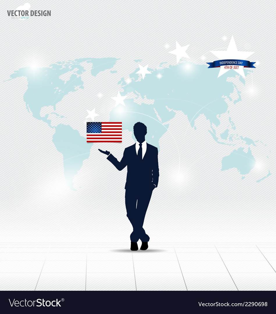 Happy independence day 4th of july businessman vector | Price: 1 Credit (USD $1)