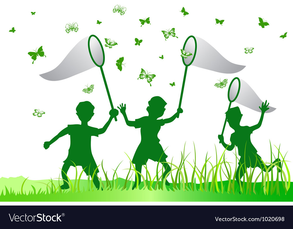 Kids catching butterfly vector | Price: 1 Credit (USD $1)