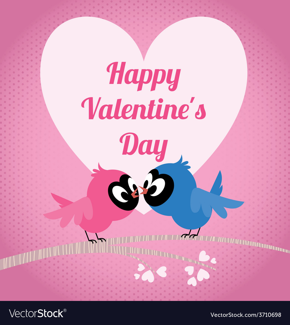 Lovers birds on a branch celebrate valentines day vector | Price: 1 Credit (USD $1)