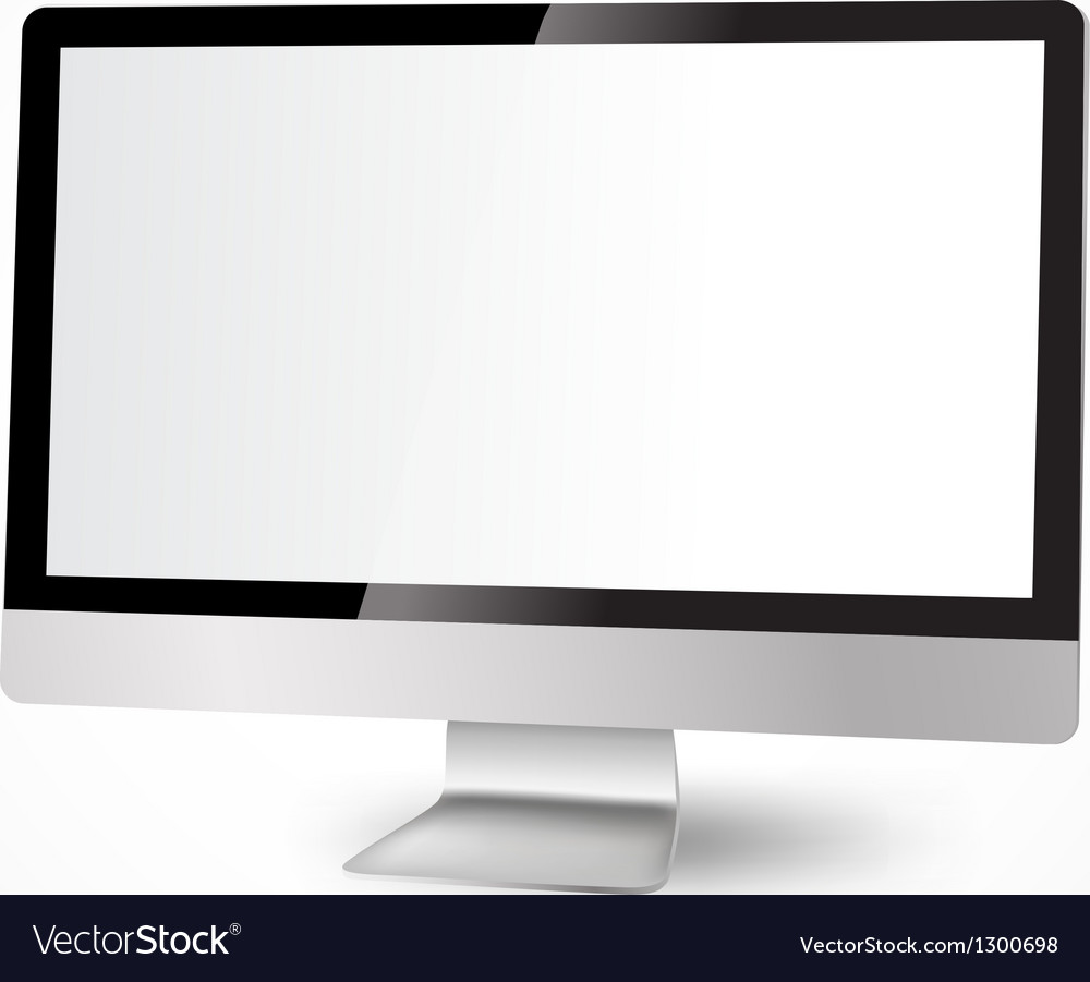 Modern computer with white display vector | Price: 1 Credit (USD $1)