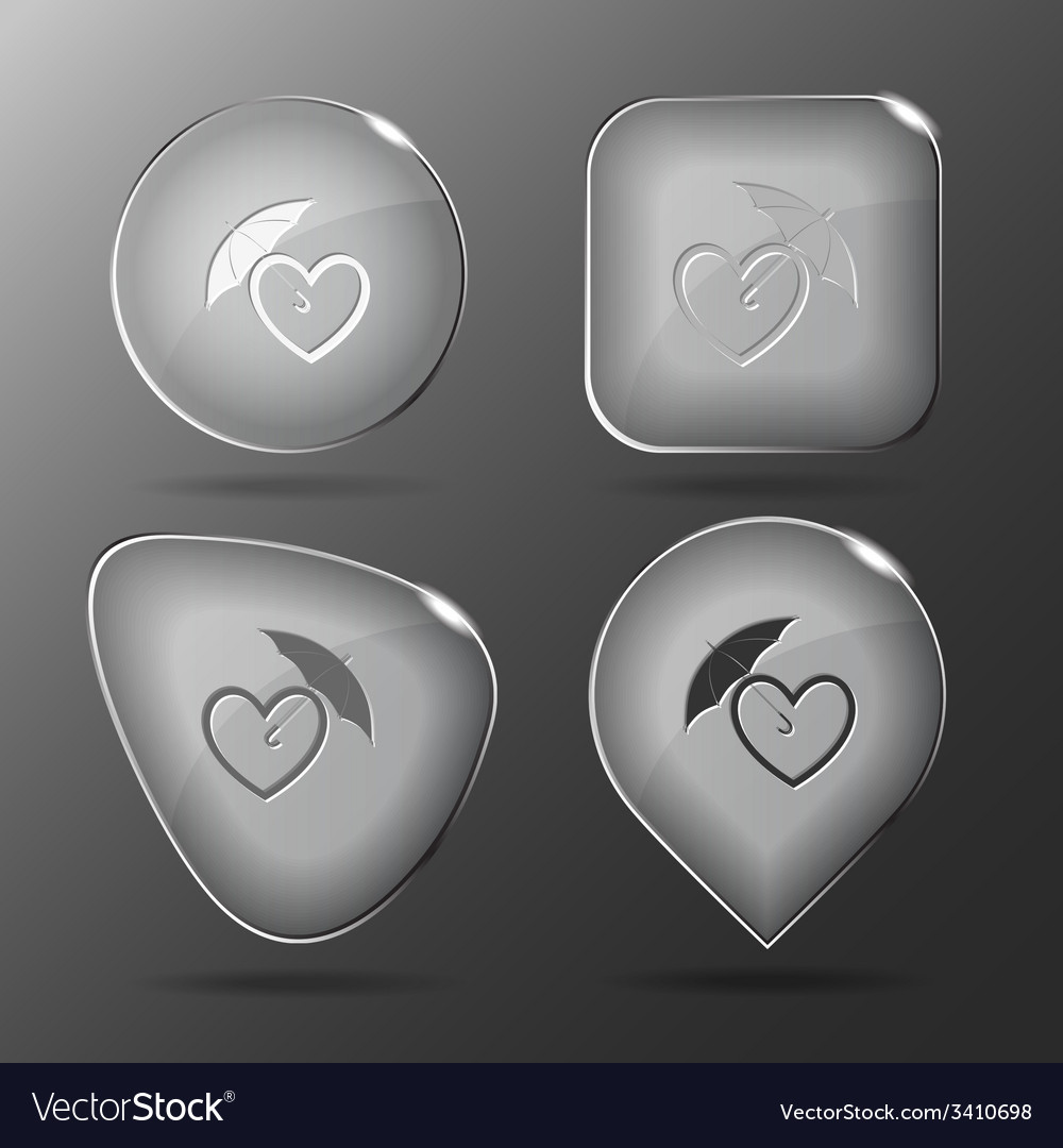 Protection love glass buttons vector | Price: 1 Credit (USD $1)