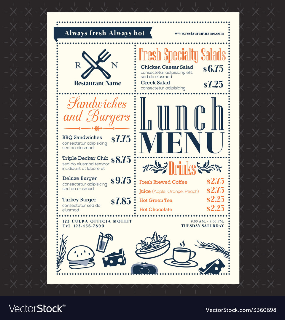Retro frame restaurant lunch menu design layout vector | Price: 1 Credit (USD $1)