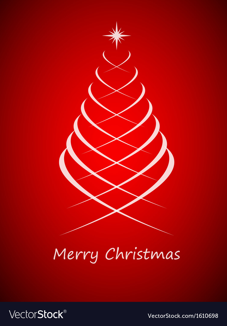 Simple christmas tree on red background vector | Price: 1 Credit (USD $1)