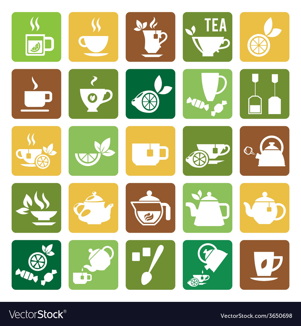 Tea time icons vector | Price: 1 Credit (USD $1)
