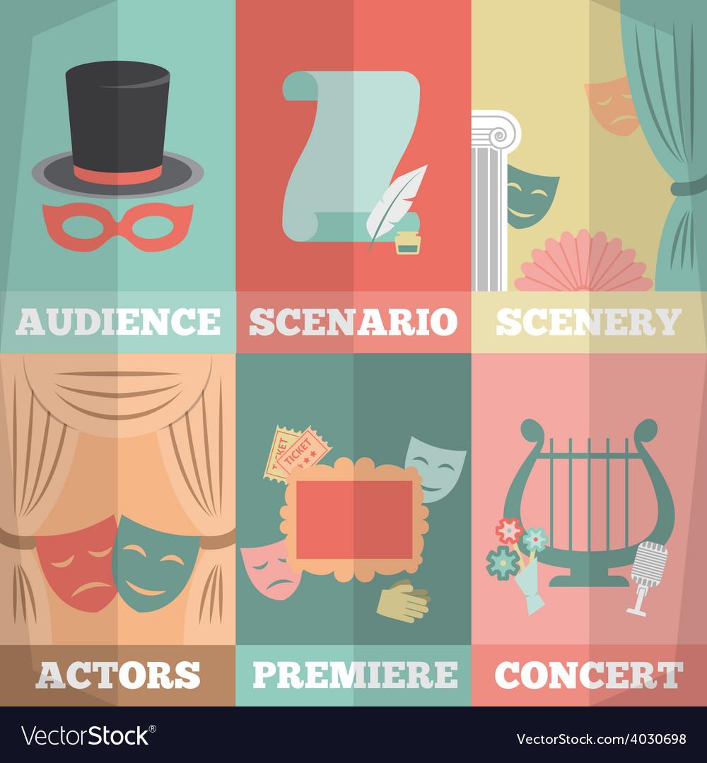 Theatre poster mini set vector | Price: 1 Credit (USD $1)