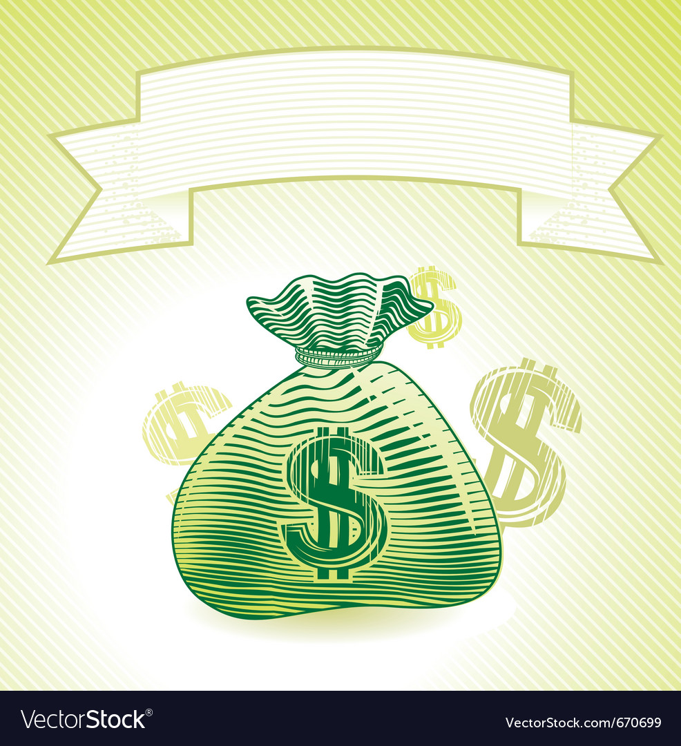 Bag with money - banner in engraving style vector | Price: 1 Credit (USD $1)