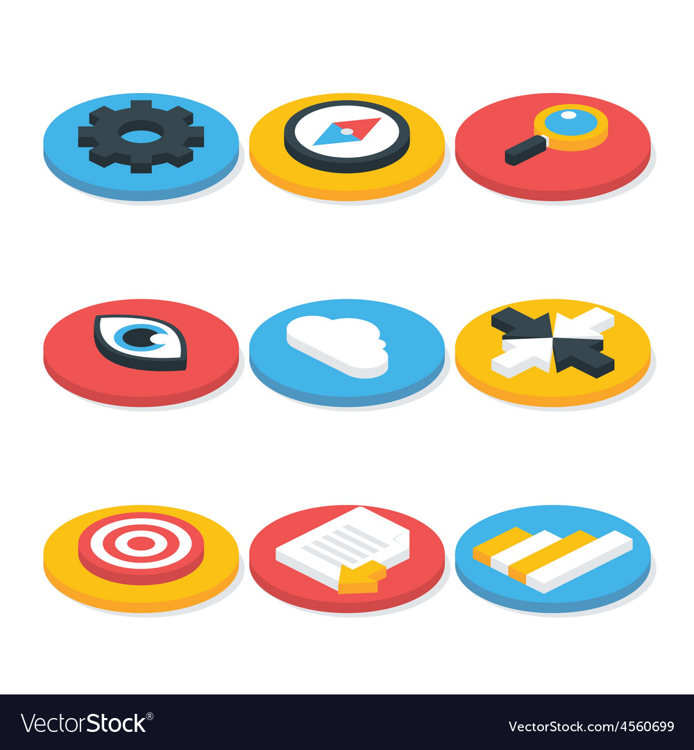 Flat website isometric icons set circular shaped vector