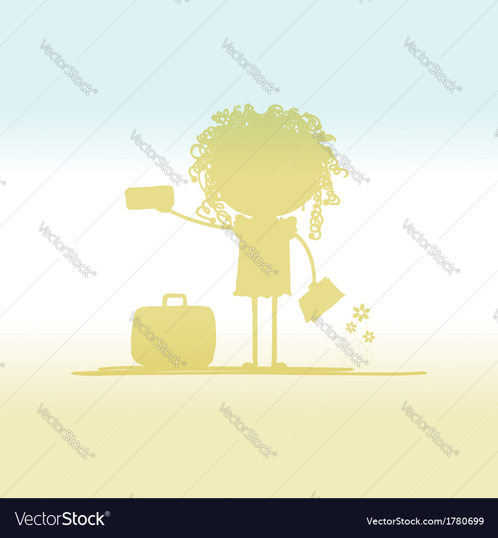 Happy tourist with tickets and suitcase for your vector | Price: 1 Credit (USD $1)