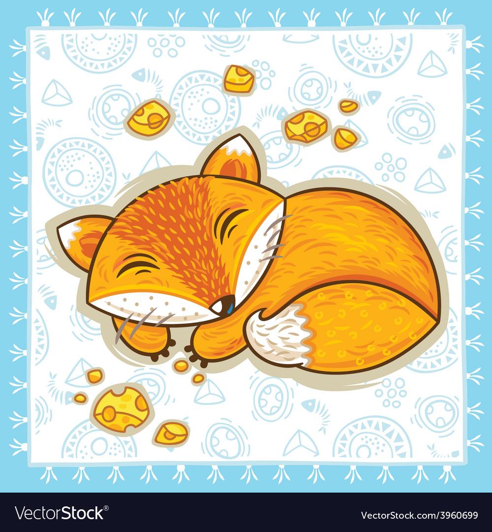 Print with sleeping cartoon fox vector | Price: 1 Credit (USD $1)