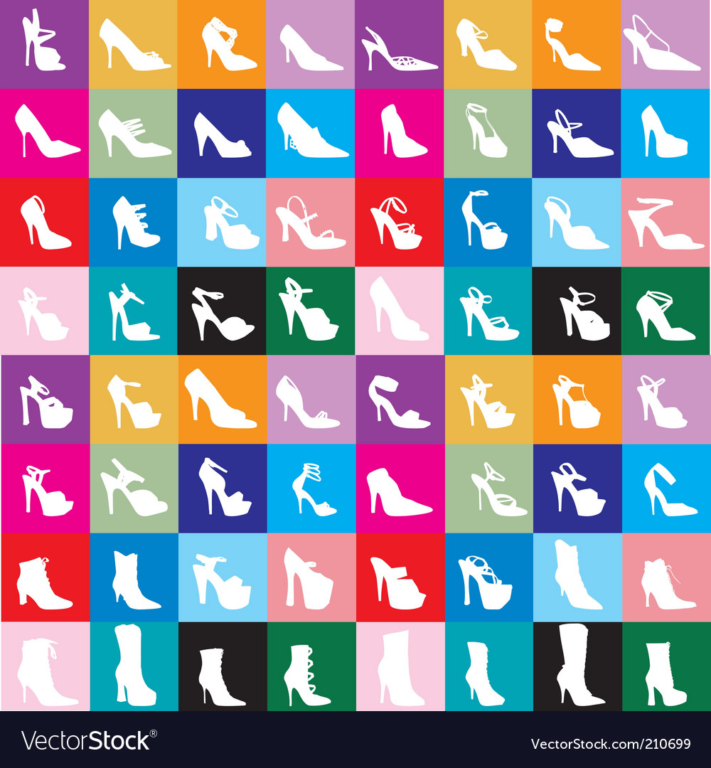 Shoe silhouettes background vector | Price: 1 Credit (USD $1)