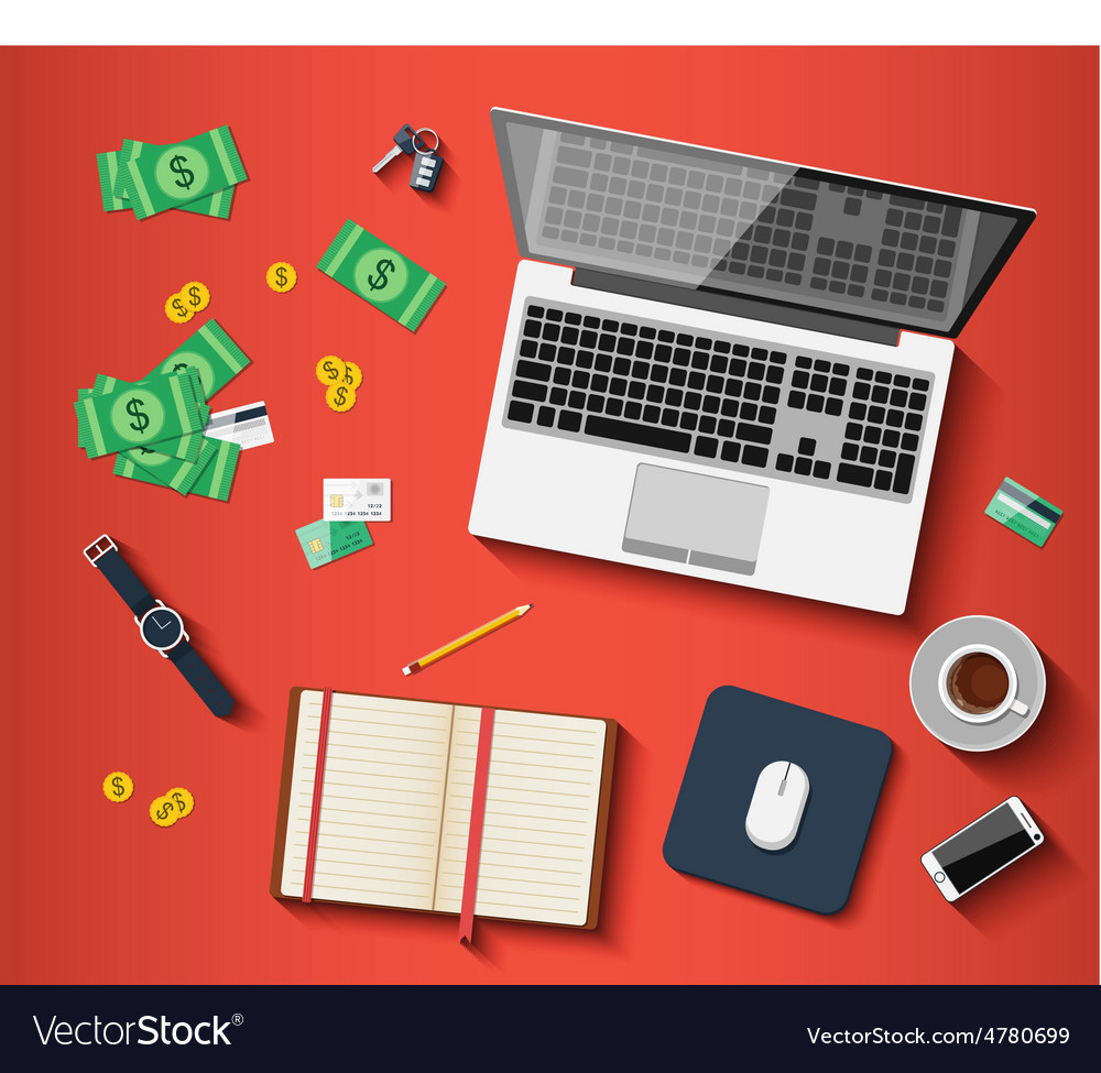 Workplace with different subjects in flat style vector   Price: 1 Credit (USD $1)
