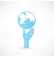 Hand and globe icon vector