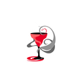 Cocktail glass red and grey vector