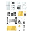 Set of household appliances flat colourful icons vector
