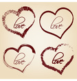 Set of red retro love heart grunge symbols eps10 vector