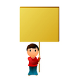 Boy with the message board vector