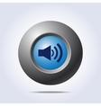 Speaker volume icon on blue button vector