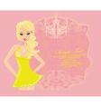 Glamor girl dancing poster card vector