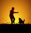 Playing kid and dog vector