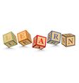 Word learn written with alphabet blocks vector