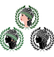 Profiles of greek woman second variant vector