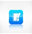 Notepad with pencil icon application button vector