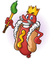 Hot dog king cartoon character vector