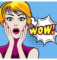 Surprised woman face with wow bubble vector