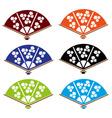Asian hand fan various colors set eps10 vector