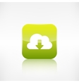 Cloud download icon application button vector