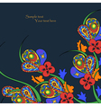 Black background with decorative bright flowers vector