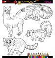 Animals set cartoon coloring book vector