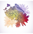 Floral greeting card with birds vector