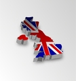 Three dimensional map of british in flag colors vector