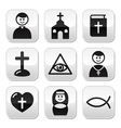 Religion catholic church buttons set vector
