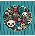 Big skulls and flowers background vector