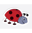Fun cartoon ladybug sticker vector