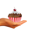Hand holding muffin vector