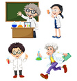 Four chemists vector
