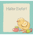 Easter vintage hand drawn card with little chicken vector