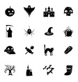 Black and white halloween icons set vector