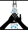 Hand washing under clean water tap vector