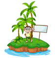 An island with a monkey and a signboard vector