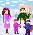 Family outdoors in winter vector