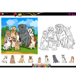 Dog breeds cartoon coloring page set vector