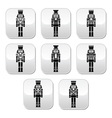 Christmas nutcracker - soldier figurine buttons vector