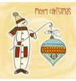Snowman with big christmas ball vector