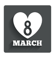 8 march womens day sign icon heart symbol vector